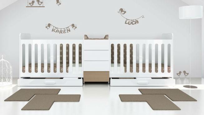 Lit bébé évolutif pour jumeaux · Modular Nature Twin, lit bébé pour ...